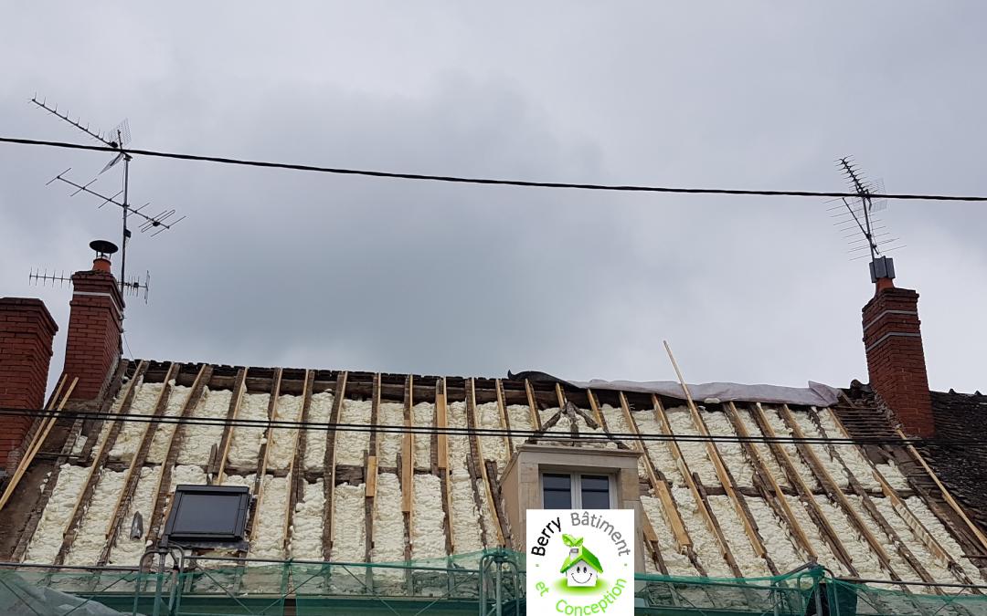 Isolation des rampants d'une toiture lors de sa réfection, à Saint Amand Montrond 18200